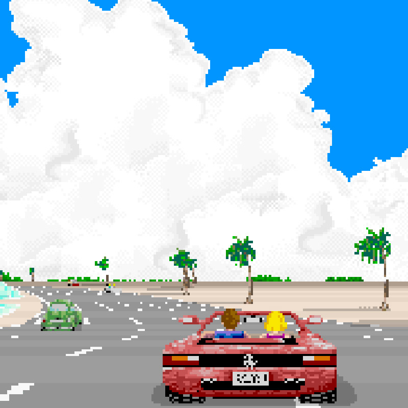 Pixelated image of red car driving by the ocean