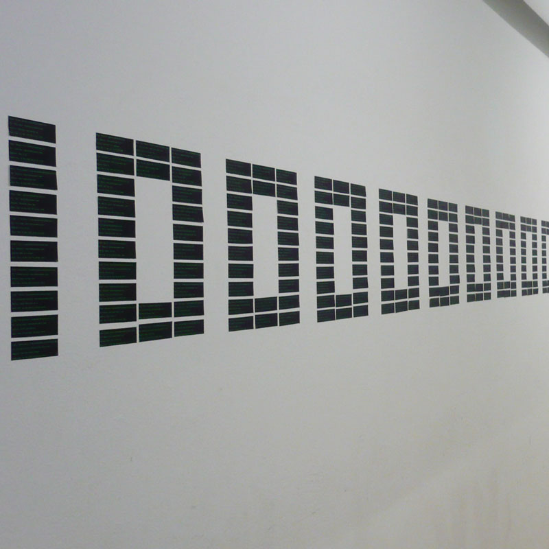 Photo of spam headers printed out and stuck on a wall