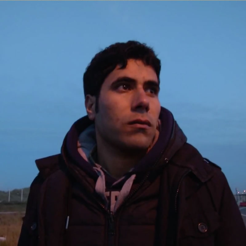 Photo of a migrant in Calais filmed by the UNHCR